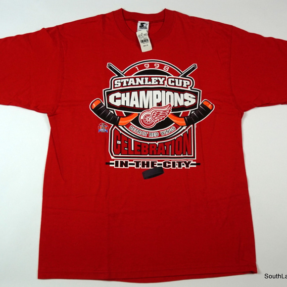 e7cfb2f4525 VTG 98 Detroit Red Wings NHL Stanley Cup T-Shirt L. NWT